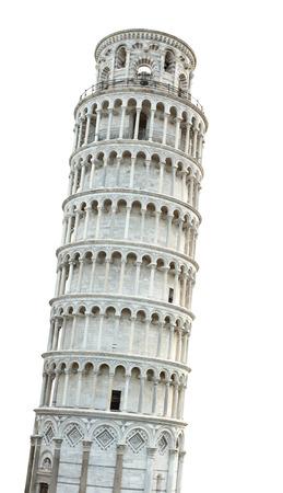 pisa: Scheve Toren van Pisa geïsoleerd over witte achtergrond Stockfoto