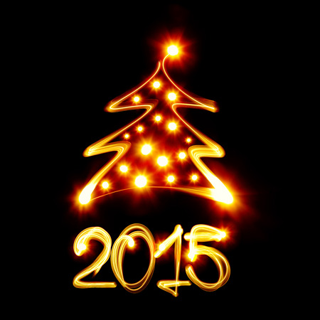 Christmas tree and 2015 created by light photo