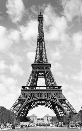 The Eiffel Tower in Paris, France. Black and white image photo