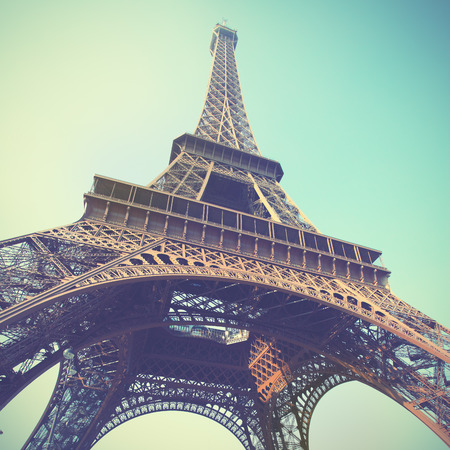 toned image: The Eiffel Tower in Paris, France. Toned image