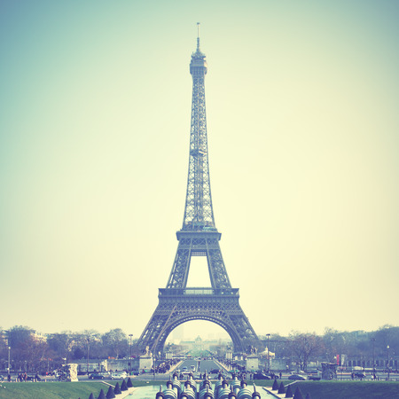 The Eiffel Tower in Paris, France. Retro style image photo