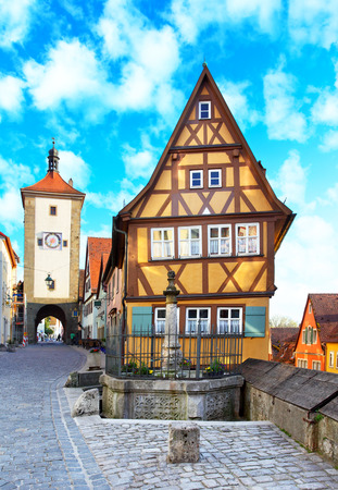 Old street in Rothenburg ob der Tauber, Bavaria, Germany photo