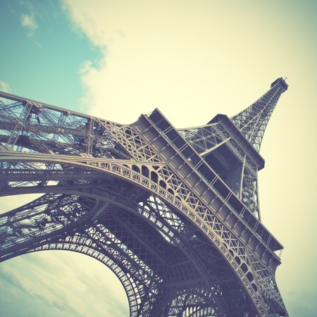 The Eiffel Tower in Paris, France. Retro style toned image photo