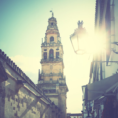 bell tower: Old street in Cordoba, Spain. Retro style filtred