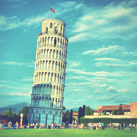 Leaning Tower of Pisa, Italy. Retro style filtred Editorial
