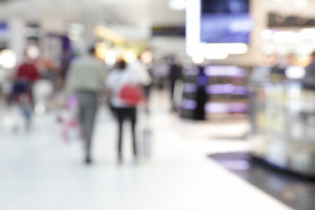 Background of duty free shop in airport out of focus photo