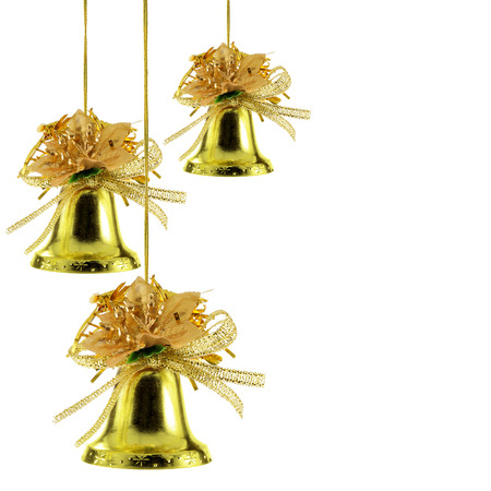 bedeck: Gold Christmas bells isolated over white background Stock Photo