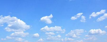 Blue sky with clouds, may be used as background