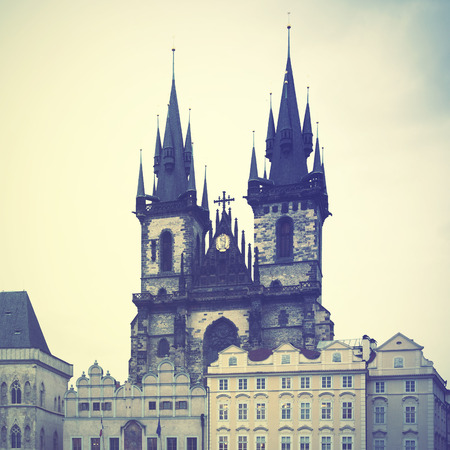 tyn: Church of Virgin Maria Before Tyn in Prague. Retro style filtred image