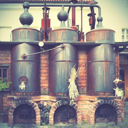 destilacion: Cervecería Viejo. Estilo retro imagen filtred Foto de archivo