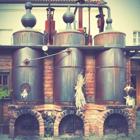Brewery: Old brewery.  Retro style filtred image Stock Photo