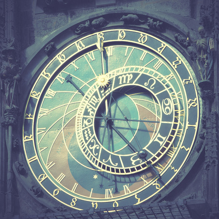 horologe: Old astronomical clock (The Horologe)  in Prague, Czech Republic. Retro style filtred image Stock Photo