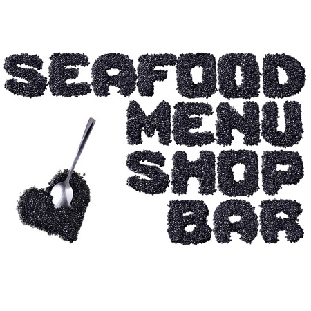 fount: Seafood - Words made of black caviare Stock Photo