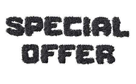 fount: Text Special Offer made of black caviare Stock Photo