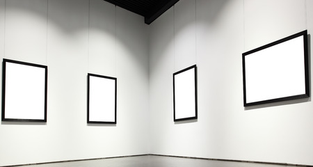 commercial painting: Exhibition hall with empty frames on wall