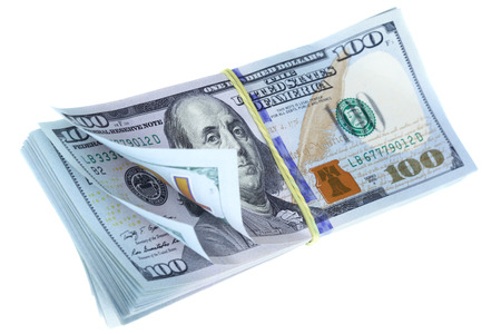 butch: Bundle of dollars isolated over the white background Stock Photo