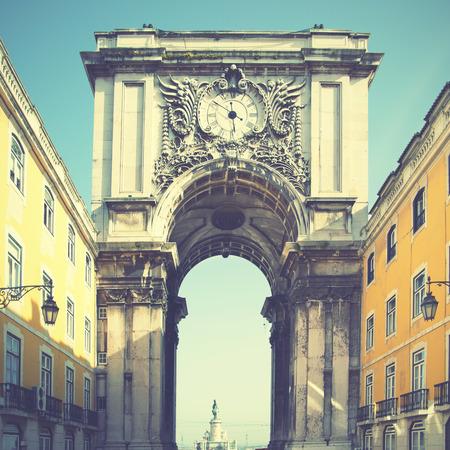 augusta: Rua Augusta arch in Lisbon, Portugal. Retro style filtred image