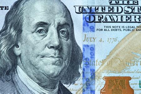 benjamin franklin: Portrait of Benjamin Franklin from 100 dollars banknote