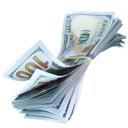 one dollar bill: Bundle of US dollars isolated over the white background Stock Photo