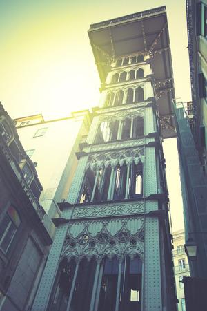 justa: Santa Justa Elevator in Lisbon, Portugal. Retro style filtred image