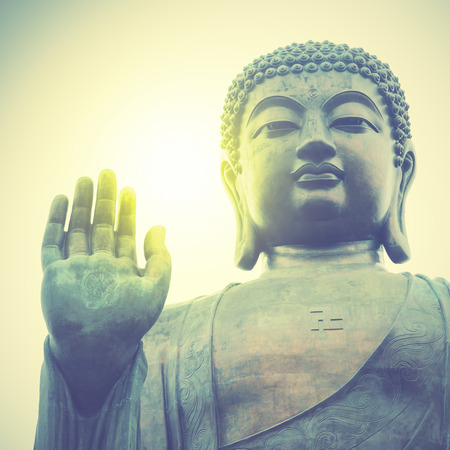 buddha face: Giant Buddha in Hong Kong. Retro style filtred image Stock Photo