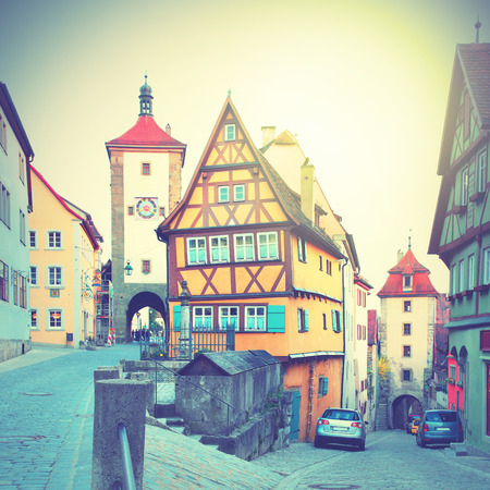 der: Street in Rothenburg ob der Tauber, Germany. Retro style filtred image Stock Photo