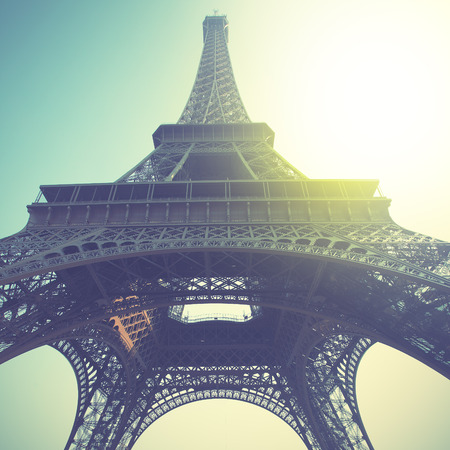 Eiffel Tower in Paris, France. Retro style filtred image photo