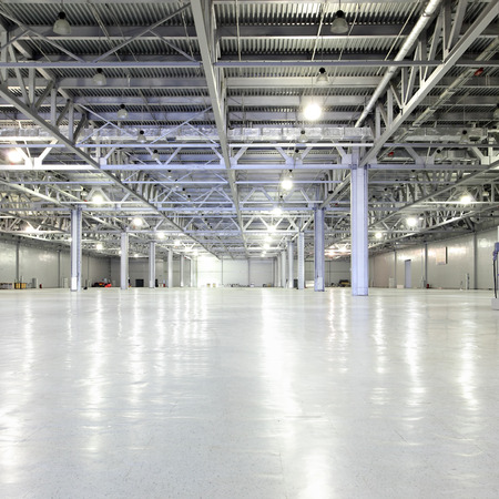 industrial background: Interior of huge empty storehouse
