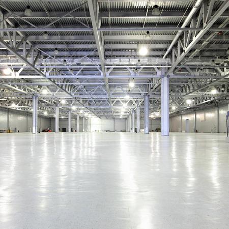 halls: Interior of huge empty storehouse