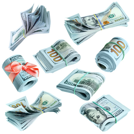 bundles: Collection of bundles of US dollars isolated over the white background