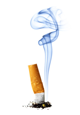 stub: Cigarette stub with smoke isolated over the white background Stock Photo