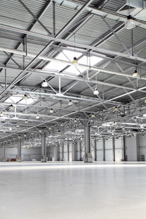 Interior of big empty storehouse