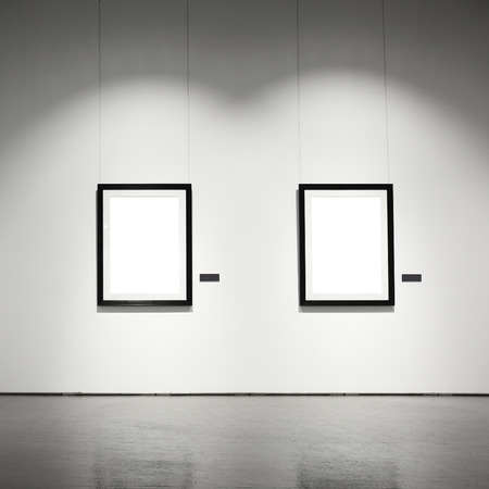 gallery interior: Exhibition hall with empty frames on wall