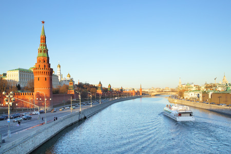 moskva river: Evening view of Moskva River and Moscow Kremlin, Russia