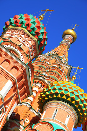 st  basil: Domes of St. Basil cathedral on the Red Square in Moscow Russia Stock Photo