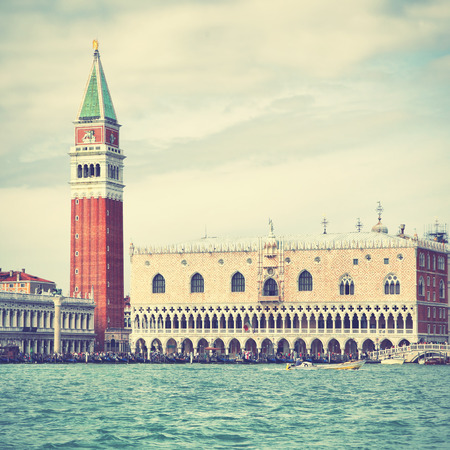 curch: Campanile and Doges palace in Venice Italy. Retro style filtred image