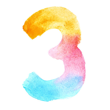 Three - Colorful watercolor numbers
