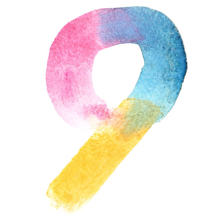 nine: Nine - Colorful watercolor numbers Stock Photo