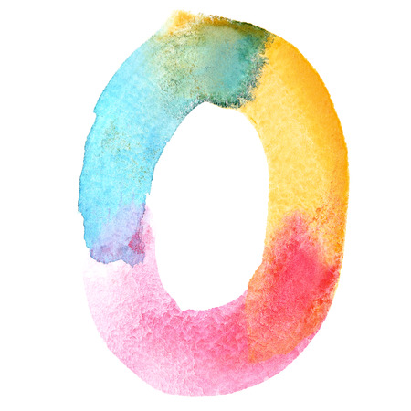 Zero - Colorful watercolor numbers