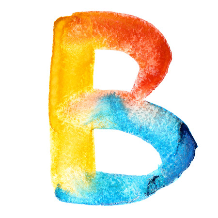 motley: Letter B - colorful watercolor abc Stock Photo