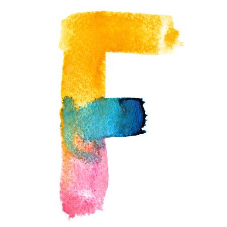 fount: Letter F - colorful watercolor abc