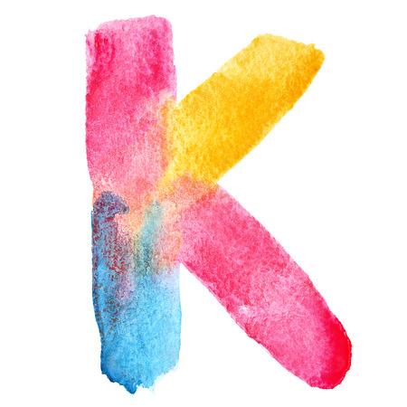 letter k: Letter K - colorful watercolor abc