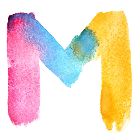 motley: Letter M - colorful watercolor abc