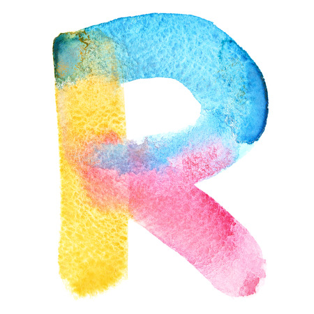 Letter R - colorful watercolor abc 스톡 콘텐츠