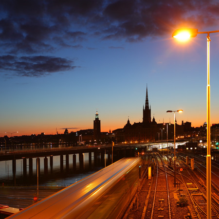urban scenics: Night view of Old Town of Stockholm