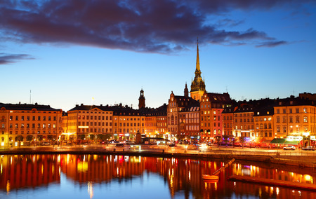 waterfronts: Old Town of Stockholm at night