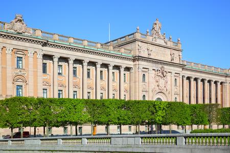 fasade: Riksdag  Parliament building in Stockholm Sweden
