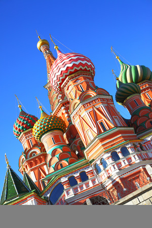 st  basil: St Basil cathedral on the Red Square in Moscow Russia. Inclined composition Stock Photo