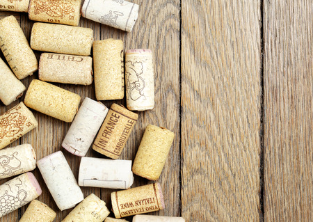 copyspace: Wine corks over wooden surface with copyspace