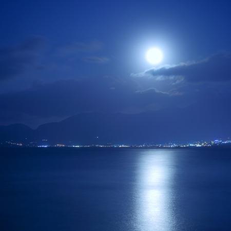 moonbeam: Full moon over sea and moon-glade, Crete Island, Greece